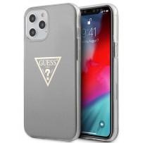 Чехол Guess для iPhone 12 Pro Max PC/TPU Metallc effect Triangle logo Hard Grey (GUHCP12LPCUMPTGR)