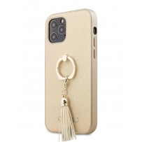 Чехол Guess для iPhone 12 Pro Max PU Saffiano + Ring Hard Beige (GUHCP12LRSSABE)