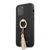 Чехол Guess для iPhone 12 Pro Max PU Saffiano + Ring Hard Black (GUHCP12LRSSABK)