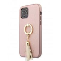 Чехол Guess для iPhone 12 Pro Max PU Saffiano + Ring Hard Pink (GUHCP12LRSSARG)