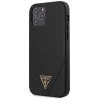 Чехол Guess для iPhone 12 Pro Max PU Saffiano Triangle metal logo Hard Black (GUHCP12LVSATMLBK)