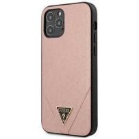 Чехол Guess для iPhone 12 Pro Max PU Saffiano Triangle metal logo Hard Pink (GUHCP12LVSATMLPI)