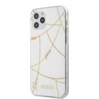 Чехол Guess для iPhone 12/12 Pro PC/TPU Chain design Hard White/Gold (GUHCP12MPCUCHWH)