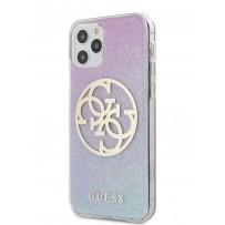 Чехол Guess для iPhone 12/12 Pro PC/TPU 4G Circle Logo Glitter Hard Gradient Pink/Blue (GUHCP12MPCUGLBPG)