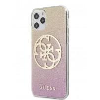 Чехол Guess для iPhone 12/12 Pro PC/TPU 4G Circle Logo Glitter Hard Gradient Gold/Pink (GUHCP12MPCUGLPGG)