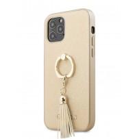 Чехол Guess для iPhone 12/12 Pro PU Saffiano + Ring Hard Beige (GUHCP12MRSSABE)