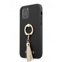Чехол Guess для iPhone 12/12 Pro PU Saffiano + Ring Hard Black (GUHCP12MRSSABK)