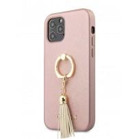 Чехол Guess для iPhone 12/12 Pro PU Saffiano + Ring Hard Pink (GUHCP12MRSSARG)