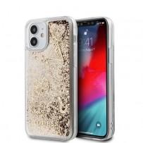 Чехол Guess для iPhone 12 mini Liquid Glitter Charms Hard Gold