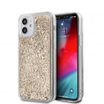 Чехол Guess для iPhone 12 mini Liquid Glitter 4G Hard Gold