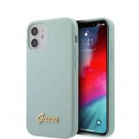 Чехол Guess для iPhone 12 mini Liquid Silicone Gold metal Logo Hard Light blue (GUHCP12SLSLMGLB)