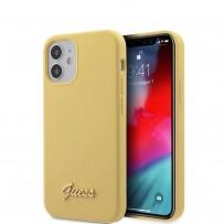 Чехол Guess для iPhone 12 mini Liquid Silicone Gold metal Logo Hard Yellow (GUHCP12SLSLMGYE)