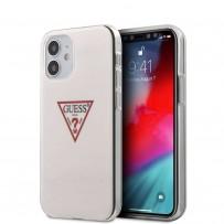 Чехол Guess для iPhone 12 mini PC/TPU Shiny Triangle logo Hard White (GUHCP12SPCUCTLWH)