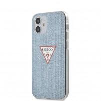 Чехол Guess для iPhone 12 mini PC/TPU Denim Triangle logo Light blue (GUHCP12SPCUJULLB)