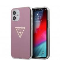 Чехол Guess для iPhone 12 mini PC/TPU Metallc effect Triangle logo Hard Pink (GUHCP12SPCUMPTPI)