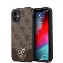 Чехол Guess для iPhone 12 mini PU 4G Triangle metal logo Hard Brown (GUHCP12SPU4GHBR)