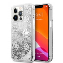 Чехол Guess для iPhone 13 Pro Liquid Glitter Peony Hard Silver (GUHCP13LLGPESI)
