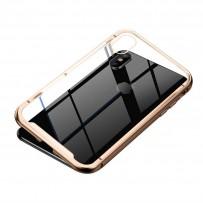 Чехол закаленное стекло с магнитной рамкой Magnetite Hardware для iPhone XS/ X Розовое золото