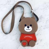 "Детская сумка-кроссбоди ""Happy Bags"" водонепроницаемая, бархатистая soft-touch, Мишка, Love Baby (для девочки)"