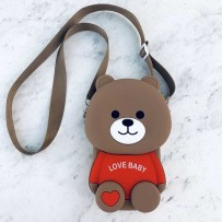 "Детская сумка-кроссбоди ""Happy Bags"" водонепроницаемая, бархатистая soft-touch, Мишка, Love Baby (для мальчика)"