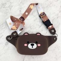 """Детская сумка на пояс/кроссбоди """"Happy Bags"""" водонепроницаемая, бархатистая soft-touch, Мишутка (для девочки)"""