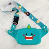 """Детская сумка на пояс/кроссбоди """"Happy Bags"""" водонепроницаемая, бархатистая soft-touch, Монстрик (для девочки)"""