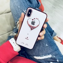 """Чехол """"Glitter Heart"""" для iPhone XS/ X, украшенный стразами Сваровски, красный"""