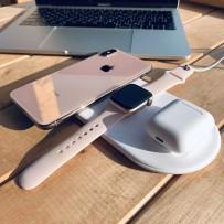 Беспроводное зарядное устройство Baseus для Apple iPhone/ Watch/ Air Pods 3в1 Wireless Charger (WX3IN1-02) Белый