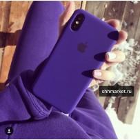 """Чехол-накладка силиконовый Silicone Case для iPhone XS/ X (5.8"""") «ультрафиолет»  №22"""