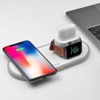 Беспроводное зарядное устройство Hoco CW21 для Apple iPhone/ Watch (1-4ser)/ Air Pods 3в1 Wireless Charger 10W Белый