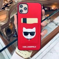 Чехол Karl Lagerfeld для iPhone 11 PU Leather with cardslot Choupette's Head Hard Red