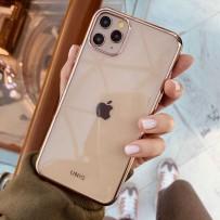 Идеальный чехол для золотого iPhone 11 Pro Max, прозрачный с золотым кантом и защитой камеры