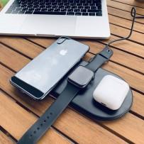 Беспроводное зарядное устройство Baseus для Apple iPhone/ Watch/ Air Pods 3в1 Wireless Charger (WX3IN1-01) Черный