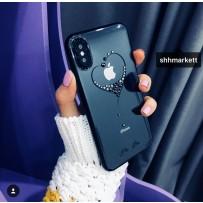 """Чехол """"Glitter Heart"""" для iPhone XS/ X, украшенный стразами Сваровски, черный"""