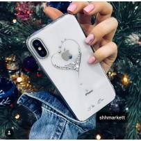 """Чехол """"Glitter Heart"""" для iPhone XS/ X, украшенный стразами Сваровски, серебро"""