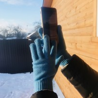 "Сенсорные перчатки iGloves ""Классика"", голубой (женские)"
