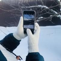 """Сенсорные перчатки iGloves, """"Классика"""", белый снег (мужские)."""