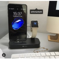 Док-станция&USB-концентратор COTEetCI Base (B18)MFI для Apple Watch & iPhone XS/ X/ 8 Plus/ SE 2in1 stand (CS7200-GY) Графитовая