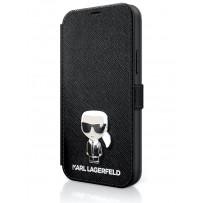 Чехол-книжка Karl Lagerfeld для iPhone 12 Pro Max PU Saffiano Ikonik Karl (metal) Booktype Black (KLFLBKP12LIKMSBK)