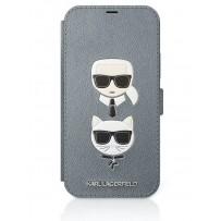 Чехол-книжка Karl Lagerfeld для iPhone 12 Pro Max PU Saffiano Karl and Choupette Booktype Silver (KLFLBKP12LSAKICKCSL)