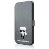 Чехол Karl Lagerfeld для iPhone 12/12 Pro PU Saffiano Ikonik Karl (metal) Booktype Silver (KLFLBKP12MIKMSSL)