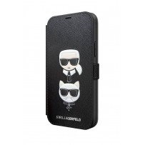 Чехол Karl Lagerfeld для iPhone 12/12 Pro PU Saffiano Karl and Choupette Booktype Black (KLFLBKP12MSAKICKCBK)