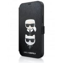 Чехол-книжка Karl Lagerfeld для iPhone 12 mini PU Saffiano Karl and Choupette Booktype Black (KLFLBKP12SSAKICKCBK)