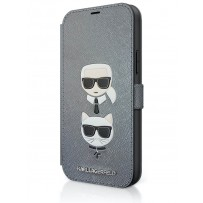 Чехол-книжка Karl Lagerfeld для iPhone 12 mini PU Saffiano Karl and Choupette Booktype Silver (KLFLBKP12SSAKICKCSL)