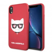 Чехол Karl Lagerfeld для iPhone XR PU Leather Choupette Hard Glitter Red