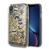 Чехол Karl Lagerfeld для iPhone XR Liquid glitter Floatting charms Hard Black/Gold (KLHCI61ROGO)