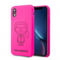Чехол Karl Lagerfeld для iPhone XR Liquid silicone Ikonik outlines Hard Pink/Black