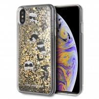 Чехол Karl Lagerfeld для iPhone XS/ X Liquid glitter Floatting charms Hard Black/Gold (KLHCPXROGO)