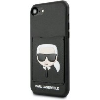 Чехол Karl Lagerfeld для iPhone 7/8/SE 2020 PU Leather with cardslot Karl's Head Hard Black