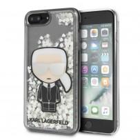 Чехол KARL Lagerfeld для iPhone 7/8 Plus Liquid glitter Karl Iconik Hard Transp (светится в темноте)